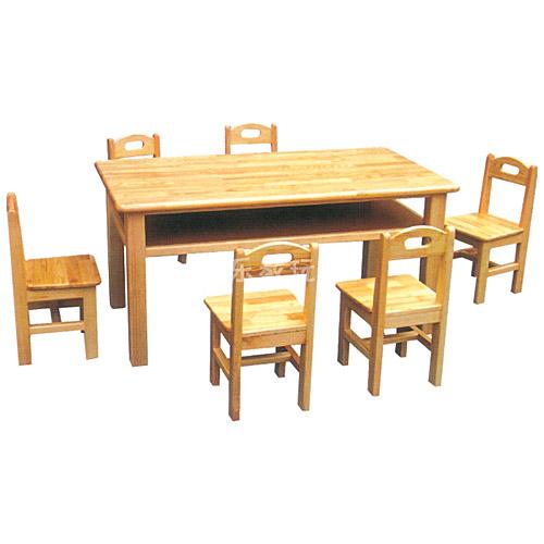 原木双层六人桌