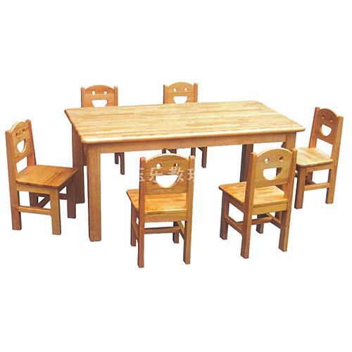 原木六人桌椅