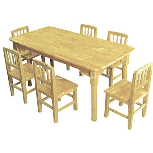 原木六人桌